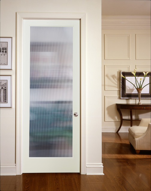 Narrow Reed Decorative Glass Interior Door