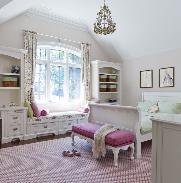 Jill Greaves Design Girls Bedroom with Window Seat  Traditional  Kids  Toronto  by Jill