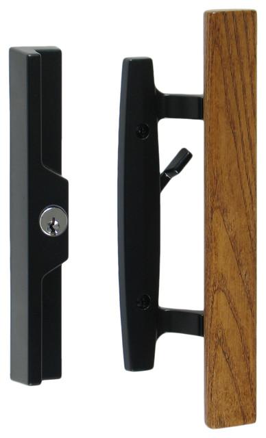 lanai sliding glass door handle set with lock keyed oak wood pull black
