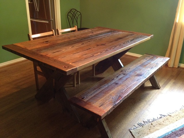 Reclaimed Barnwood Dining Table Cross Leg Traditional