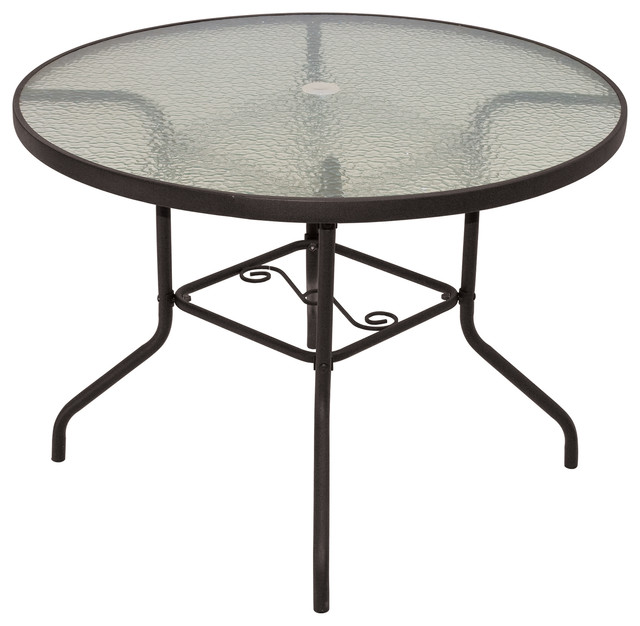 rio brands 40 inch sienna round patio table with tempered glass top brown