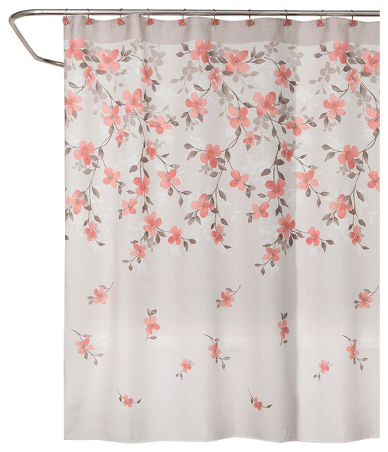 saturday knight coralgarden floral shower curtain