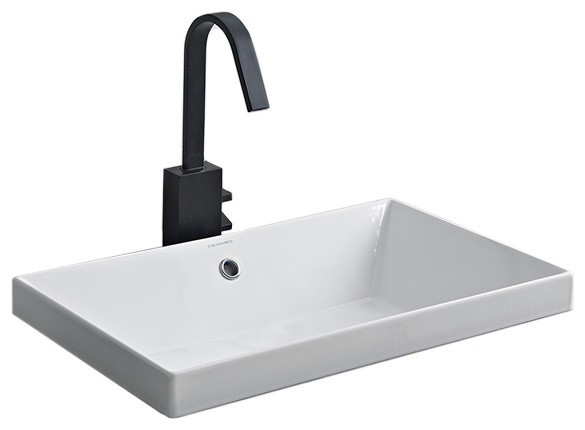 rectangular small white ceramic drop in sink no hole