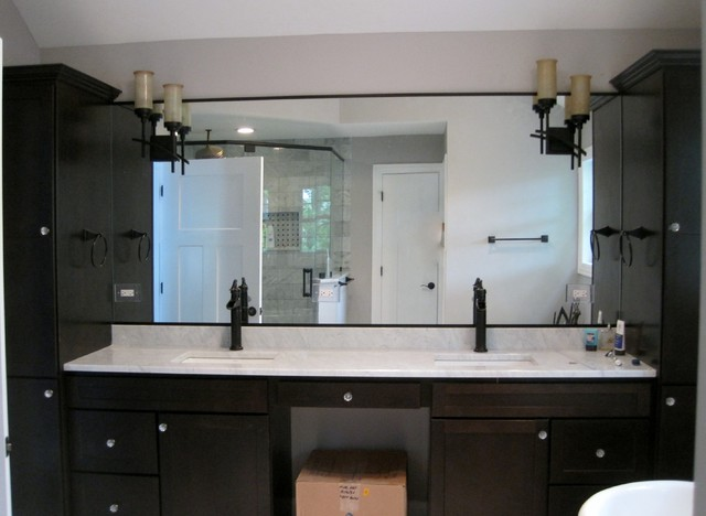 dark wood master bathroom vanities granite top square