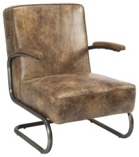 Distressed Leather Arm Chair - Industrial - Living Room ...