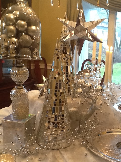 white and silver Christmas decorating  Traditional  Dining Room  Boston  by New England Fine