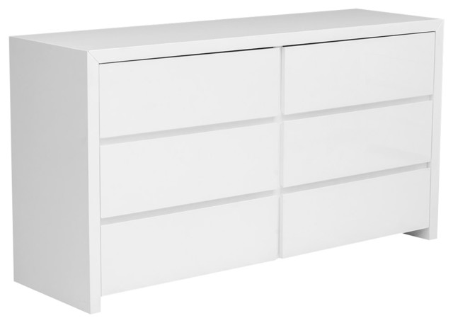Bonita Modern White High Gloss 6Drawer Dresser  Modern  Dressers  by LA Furniture Store