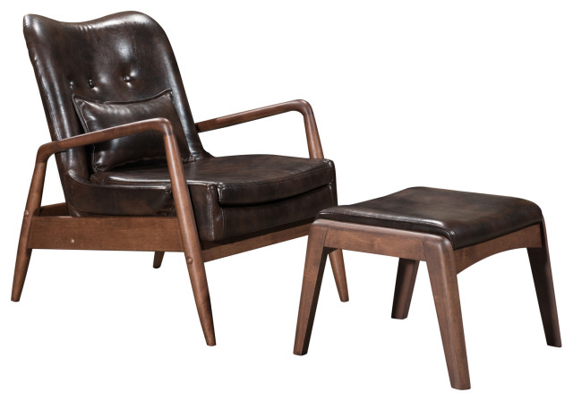 modern mid century chaise lounge chair ottoman brown faux leather