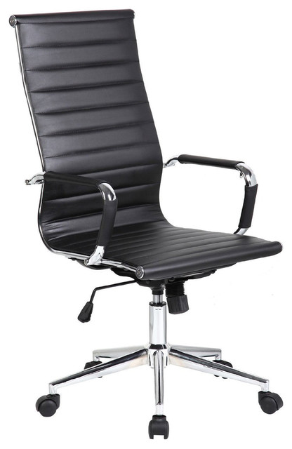 contemporary office chairs step ladder chair designer executive ergonomic high back ribbed pu black
