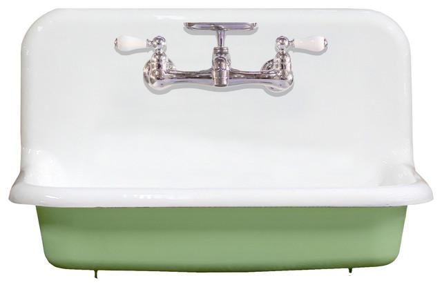 new 30 high back farm sink cast iron original porcelain wall mount green chrome