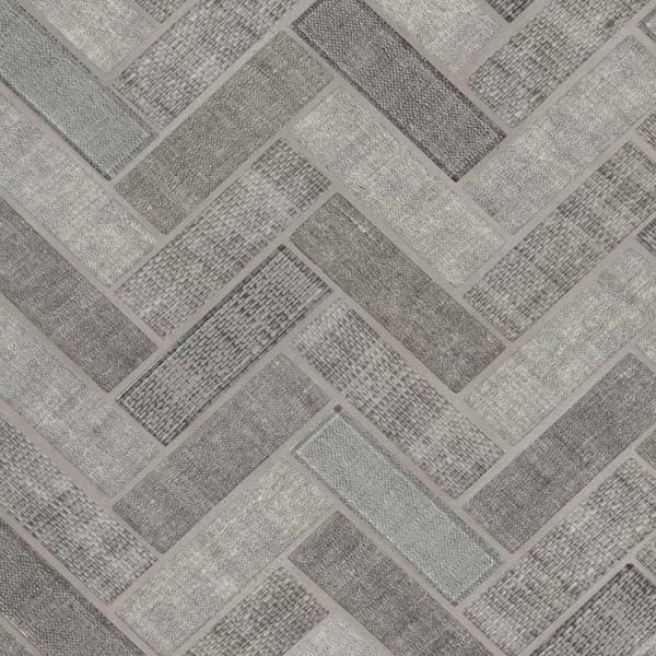 textalia herringbone revaso recycled glass backsplash tile sample