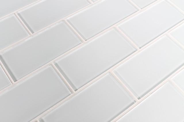 snow white 3x6 glass subway tile sample