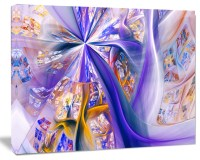 Purple Yellow Fractal Curves, Abstract Wall Art ...