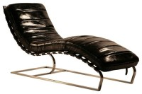 Leather Chaise With Iron - Midcentury - Indoor Chaise ...