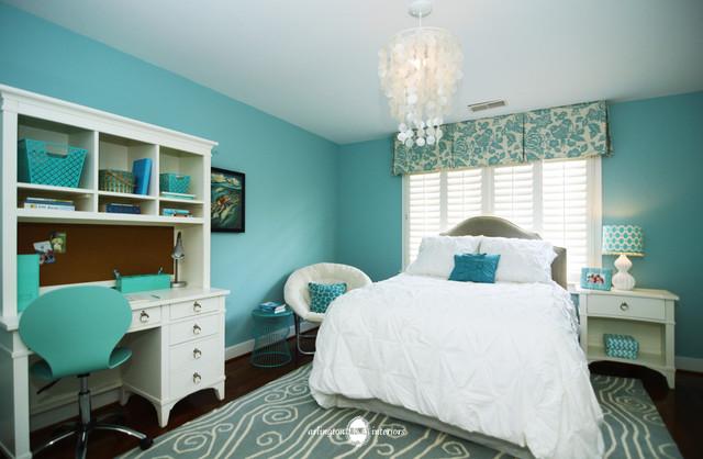 Ocean Inspired Aqua Girls Bedroom  Transitional  Bedroom  DC Metro  by Arlington Home Interiors