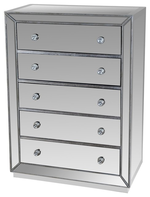 jameson 5 drawer silver mirrored exclusive chest