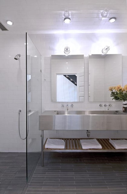 Bathroom with Stainless Steel Sinks  Contemporary