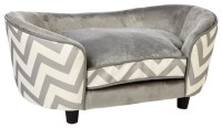 Ultra Plush Snuggle Dog Bed, Chevron Gray - Contemporary ...
