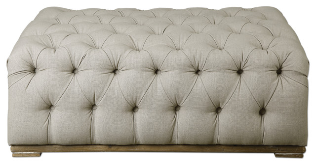 extra large button tufted off white linen ottoman plush diamond beige classic
