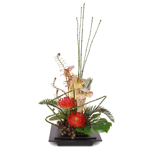 Exotic Floral Arrangement in Metal Container  Traditional