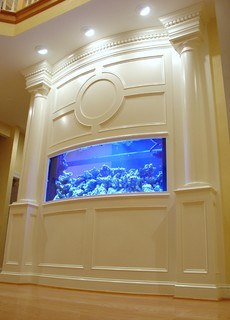 baltimore kitchen remodeling glossy cabinets built-in aquarium, fireplace, and theater ...
