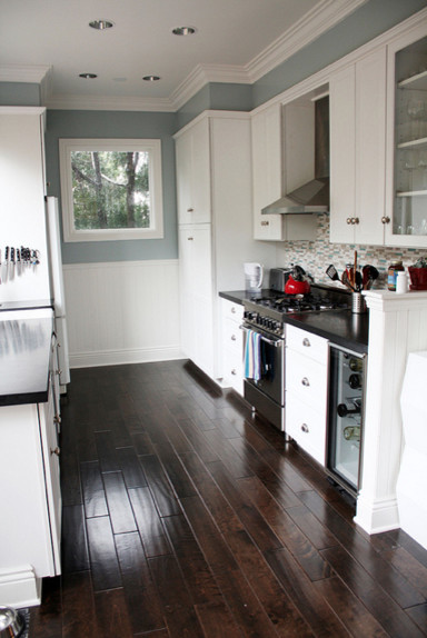 white kitchen cabinets blue countertops Blue gray kitchen with black counter tops and white cabinets