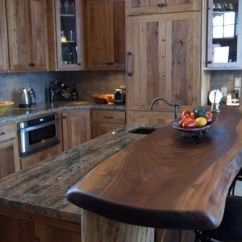 Lowes Kitchens Cabinets Commercial Kitchen Flooring Epoxy Reclaimed Chestnut With Walnut Slab Bartop - Rustic ...