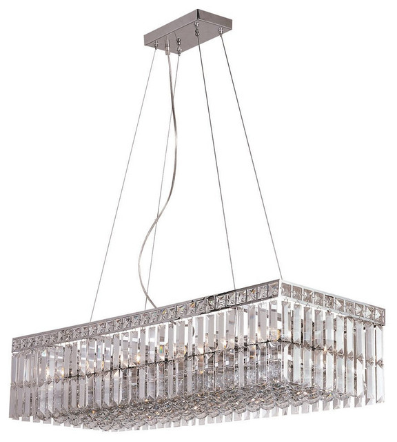 Polished Chrome And Crystal 12 Light Chandelier Island Contemporary Kitchen