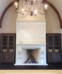 Elegant Tall Limestone Fireplace