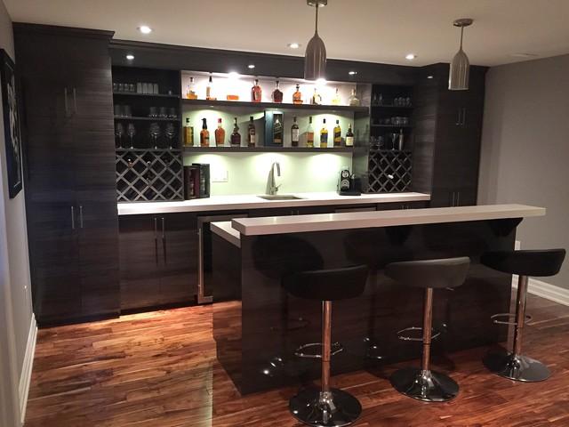 High Gloss Modern Basement Bar  Modern  Home Bar