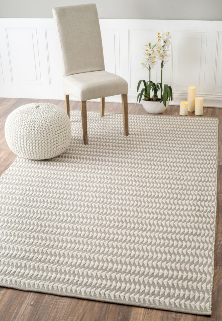 hand woven triangle striped indoor outdoor area rug ivory 7 6 x9 6