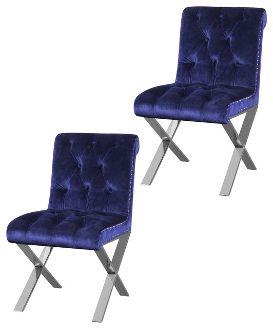 navy blue dining chairs set of 2 office chair alternatives claire velvet contemporary by pangea home