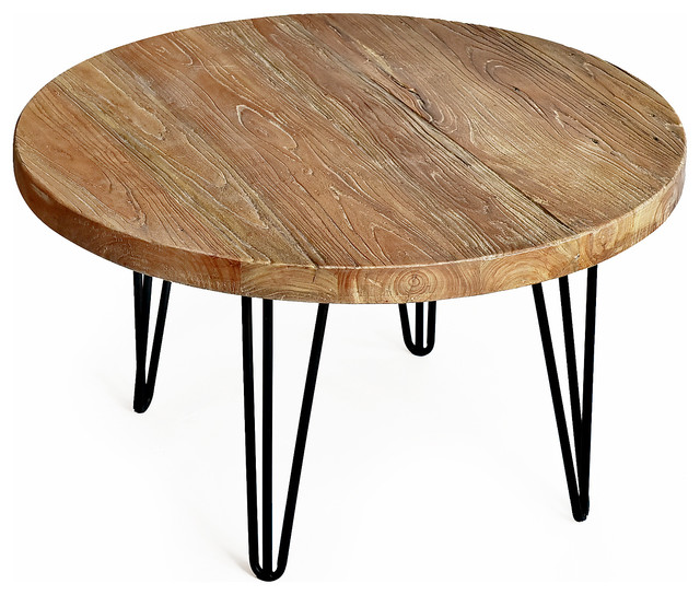 rustic round old elm coffee table