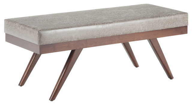 chanelle 48 mid century modern ottoman bench distressed gray taupe
