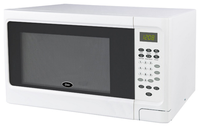 mid size 1 1 cu ft 1000w countertop microwave oven push button open white