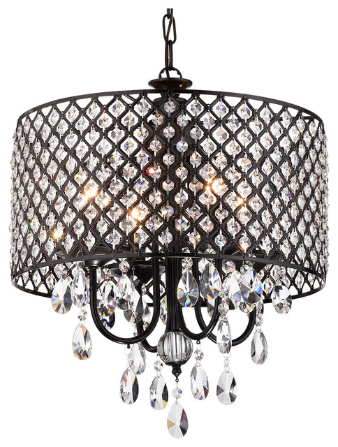 Mariella 4 Light Crystal Drum Shade Chandelier Black Contemporary Chandeliers