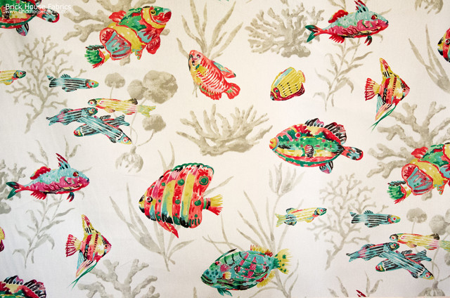 Tropical Fish Fabric Ocean Coral Funky Watercolor White