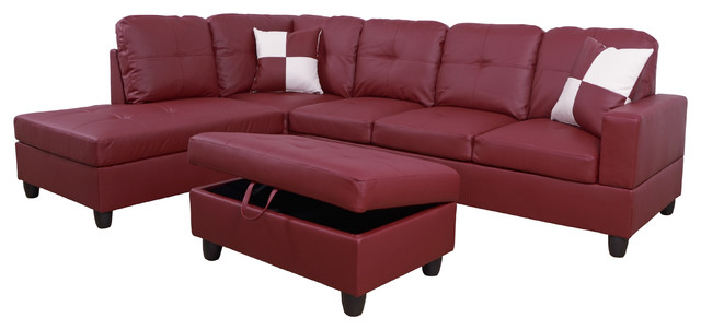 l shape sectional sofa set with storage ottoman red left hand facing chaise