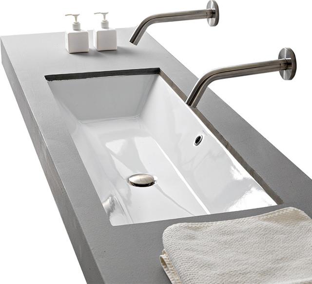 rectangular small white ceramic undermount sink no hole