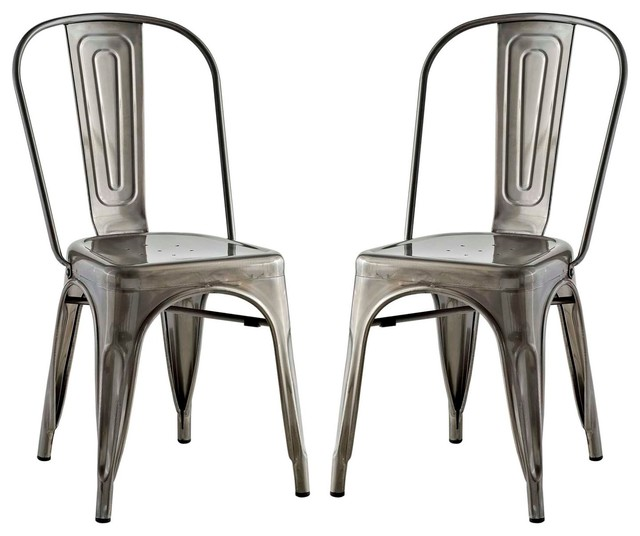 silver metal dining chairs raz shower chair order form urban industrial distressed antique vintage set of 2 black by house bound