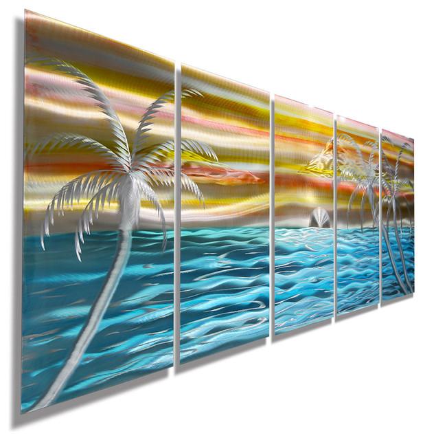 island beach tropical metal wall art colorful metal beach scene