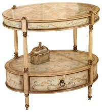 Barrington Tuscan Cream Hand Painted Oval Accent Table ...