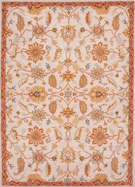 Transitional Poeme 2x3 Rectangle Antique WhiteOrange Rust Area Rug  Transitional  Area Rugs