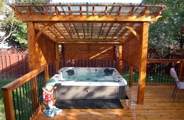 Covered Spa And Cedar Deck Traditional Deck Ottawa