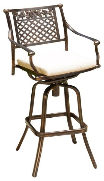 outdoor patio swivel bar stools Sierra Outdoor Cast Aluminum Swivel Bar Stool W/ Cushion - Contemporary - Outdoor Bar Stools And