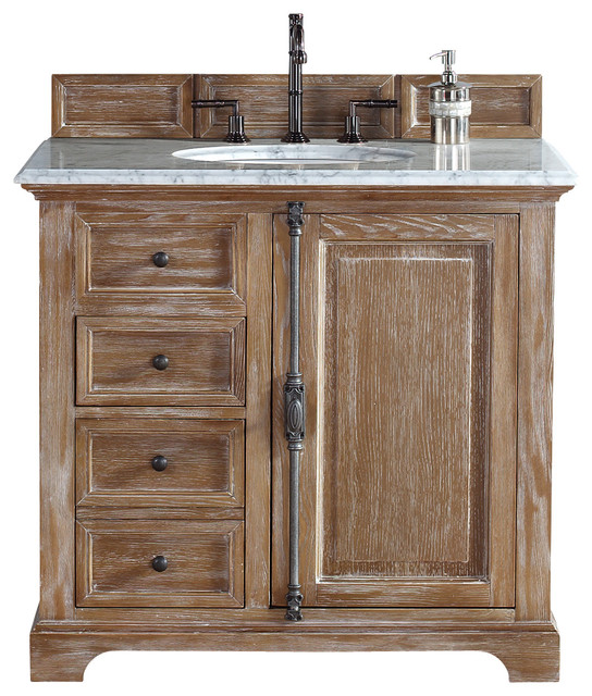 Providence Driftwood Single Vanity Carrera White Stone