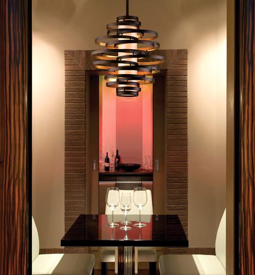 Vertigo Spiral Bronze And Gold Leaf Modern Pendant Chandelier Lighting Living Room