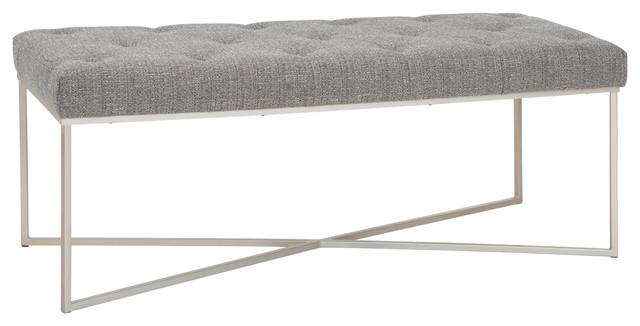 maddox 48 modern contemporary ottoman bench granite woven fabric
