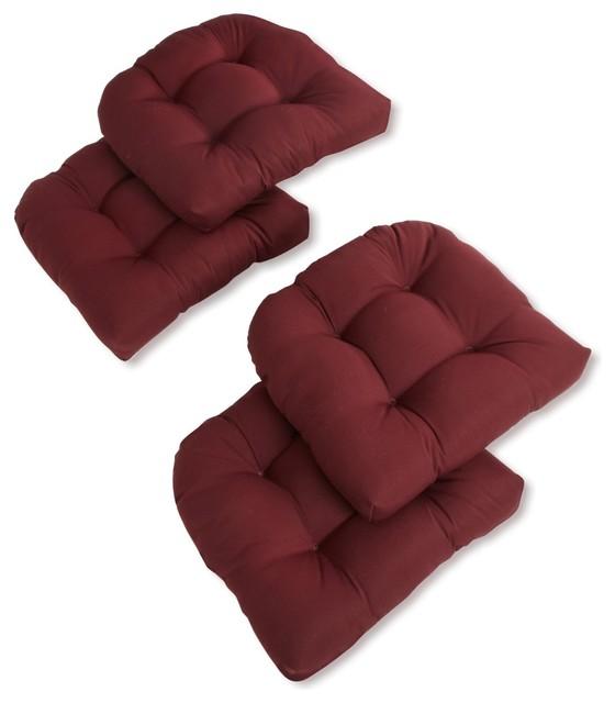 19 u shaped twill tufted dining chair cushions set of 4 burgundy