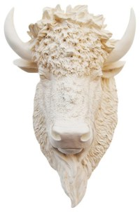 White Faux Taxidermy - Faux Bison Animal Head Wall Decor ...